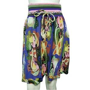Oilily Rainbow Waistband Cotton Silk Floral Skirt